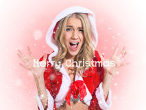 Красивая девушка, одежды Санта Клауса. Концепция - Стоковое Изображение
