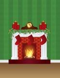 与圣诞节装饰墙纸例证的壁炉 免版税库存照片
