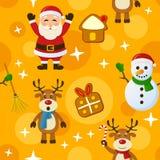 黄色圣诞节无缝的样式 免版税库存照片
