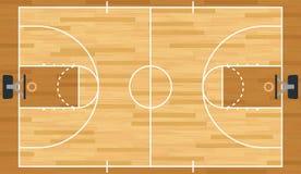 Ρεαλιστικό διανυσματικό γήπεδο μπάσκετ Στοκ Εικόνα