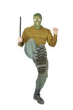 踢与他的脚的战斗机 免版税库存图片
