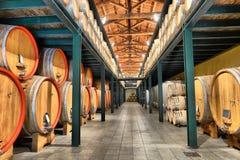 酒桶在葡萄酒库里 免版税库存照片