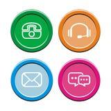 Контакт - круглые комплекты значка Стоковая Фотография RF
