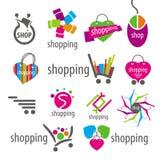 传染媒介商标和购物折扣篮子 免版税库存照片