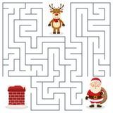 Лабиринт Санта Клауса & печной трубы для детей Стоковые Изображения