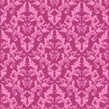 无缝的锦缎花卉样式在桃红色树荫下。 免版税库存照片