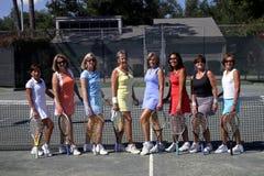 女性小组网球 库存图片