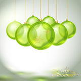 Прозрачные зеленые шарики рождества Стоковые Фотографии RF
