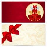Πιστοποιητικό δώρων, απόδειξη, πρότυπο δελτίων. Τόξο Στοκ Εικόνες