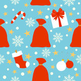 Предпосылка Нового Года безшовная, сумка с подарками Стоковые Фото