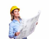 有计划的建筑师妇女。 免版税库存照片