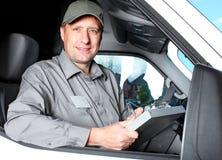 英俊的卡车司机。 免版税库存图片