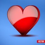 红色现实心脏情人节卡片 免版税图库摄影