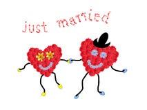 婚姻夫妇-握手,文本的两微笑的花心脏 库存图片