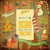 Αναδρομική Χαρούμενα Χριστούγεννα και νέα κάρτα ετών Στοκ Εικόνες