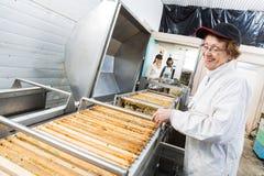 Ευτυχής μελισσοκόμος που εργάζεται στην εξαγωγή μελιού Στοκ φωτογραφίες με δικαίωμα ελεύθερης χρήσης
