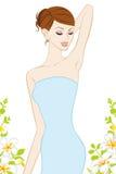 女性腋窝,护肤图象 库存图片