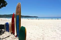在空白沙子海滩的冲浪板 免版税库存照片