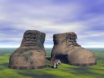 鞋子灰色和老鼠 库存图片