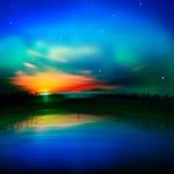 与日出的抽象自然背景 免版税库存照片