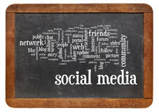在黑板的社会媒介词云彩 免版税库存图片