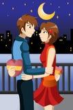 庆祝情人节的青年人 免版税库存图片