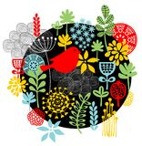 鸟、花和其他自然印刷品。 图库摄影
