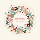圣诞快乐葡萄酒花圈卡片 免版税库存图片