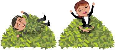 成功的女商人和人山金钱 免版税图库摄影