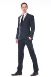 一个英俊的年轻商人的充分的身体画象在黑衣服的 免版税库存图片