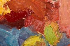 在帆布的抽象五颜六色的背景油画。 库存照片