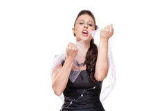 执行在她的阶段礼服的女性歌剧歌手 免版税库存照片