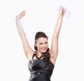 执行在她的阶段礼服的女性歌剧歌手 库存图片