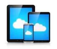 计算在移动设备的云彩 免版税库存照片