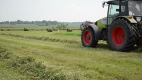 拖拉机收集干草领域 股票视频
