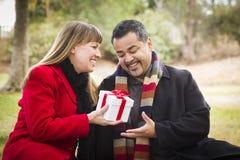 分享圣诞节或情人节礼物的混合的族种夫妇户外 免版税库存图片