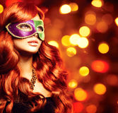 Девушка в маске масленицы Стоковые Фотографии RF