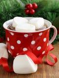 热的可可粉用蛋白软糖,甜饮料 免版税库存照片