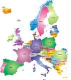 континентальная карта европы политическая Стоковое фото RF