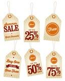 Винтажные ярлыки розницы продажи лета Стоковая Фотография RF