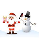 圣诞老人和雪人 免版税库存照片