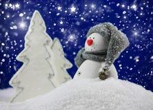 滑稽的雪人 免版税库存图片