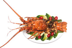 烤的龙虾盘 免版税库存照片