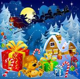 μαγική νύχτα Χριστουγέννων Στοκ εικόνες με δικαίωμα ελεύθερης χρήσης