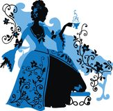 一名洛可可式的妇女的图表剪影 免版税图库摄影