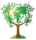 世界地图树 免版税库存照片