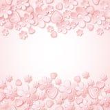 与华伦泰心脏和花的桃红色背景 免版税库存图片