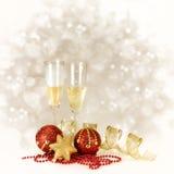 香宾玻璃。与拷贝的新年和圣诞节庆祝 库存图片