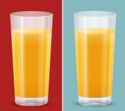 橙汁被隔绝的杯 库存照片