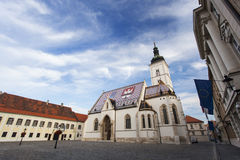 有圣马克教会的老镇中心  库存图片
